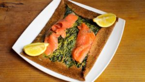 Crêpe saumon épinard